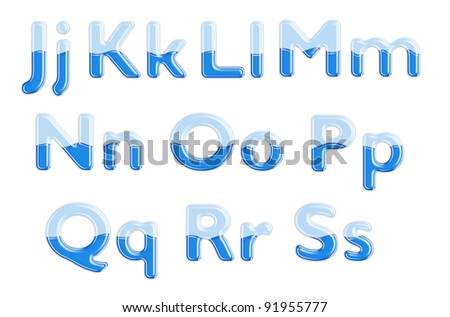 Set of glass letters half-full of blue liquid - stock photo