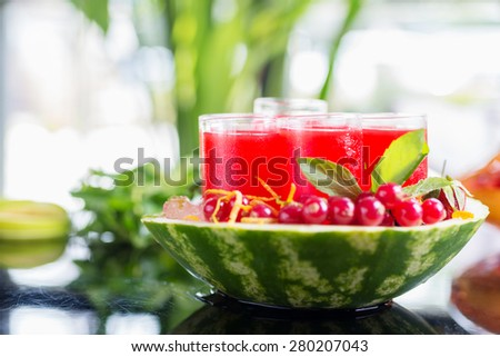 Set of glasses with alcohol cocktail with cranberry juice on a table in a restaurant with a creative composition of ice watermelon and fresh cranberries. soft focus - stock photo