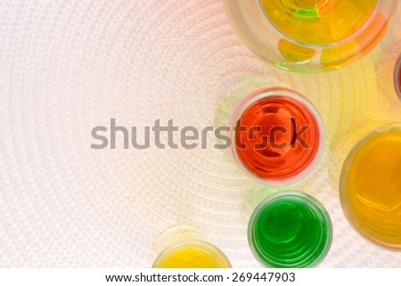 Set of glasses with wine and juice top view - stock photo