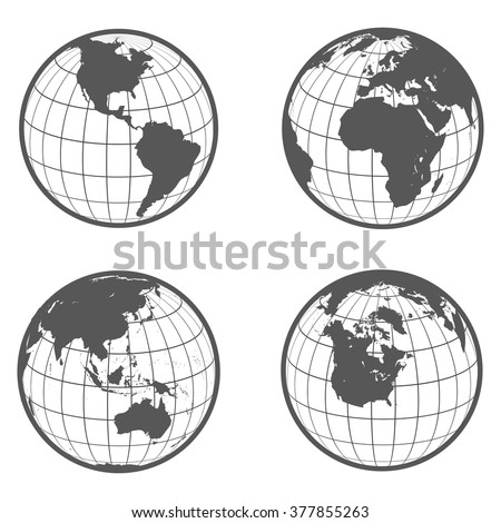 Set of globes with different continents earth  flat style - stock photo