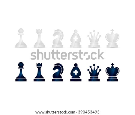 Set of glossy black and white chess icons isolated on white - stock photo