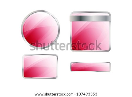 Set of glossy pink badges and buttons. Raster version - stock photo