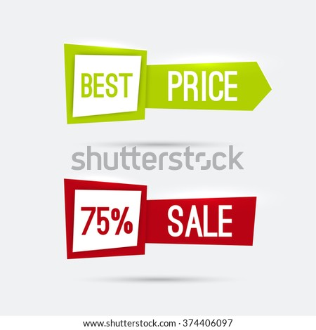 Set of glowing banners with discounts and great deals buying goods. best price, sale, red, green - stock photo