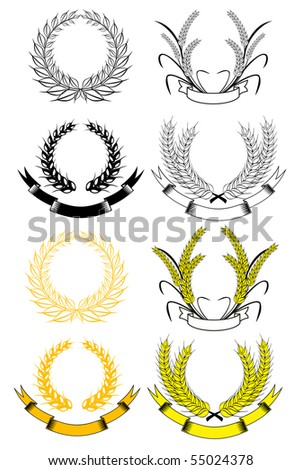 Set of gold and black laurel wreaths - also as emblem. Vector version also available in gallery - stock photo