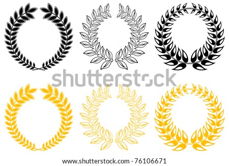 Set of gold and black laurel wreaths. Vector version also available in gallery - stock photo