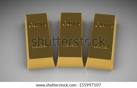 Set of gold bars - stock photo