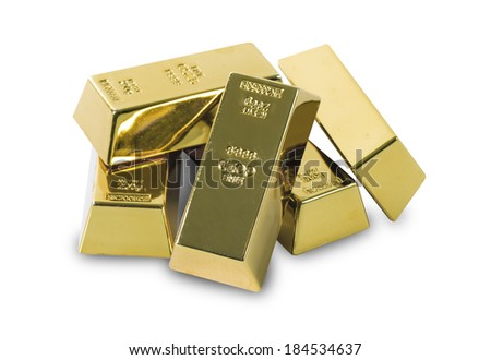 Set of gold bars isolated on white background  - stock photo