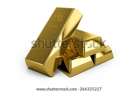 Set of gold bars isolated on white background - stock photo