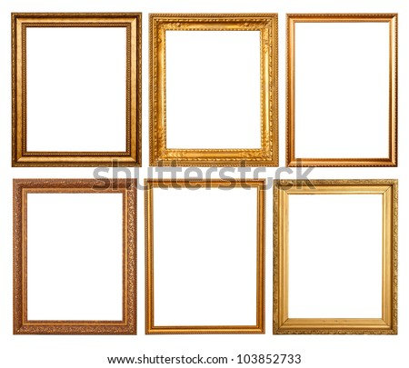 Set of 6 gold frames. Isolated over white background - stock photo