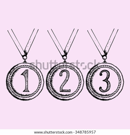Set of gold, silver and bronze medals with Ribbon, doodle style, sketch illustration, hand drawn, raster - stock photo
