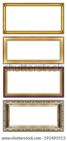 Set of golden frame with blank space, with clipping path. - stock photo