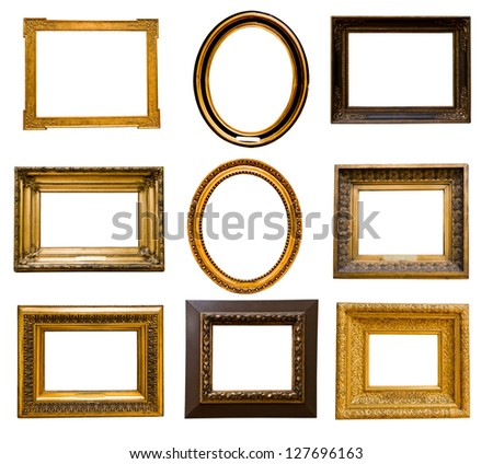 set of golden frames - stock photo