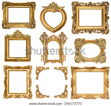 set of golden frames isolated on white background. baroque style antique objects. vintage background - stock photo