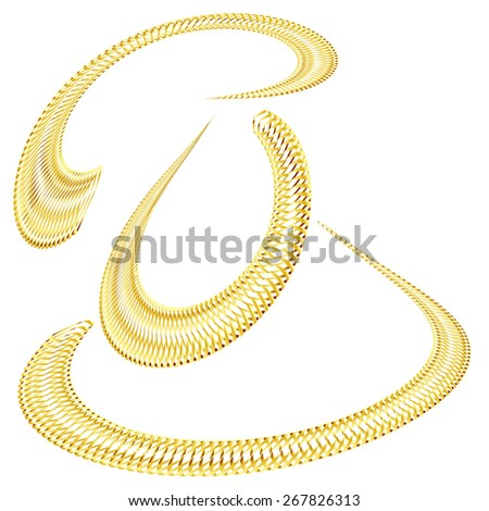 set of golden icons golden chain abstract golden line isolated on white background raster - stock photo