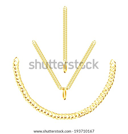 set of golden icons golden chain isolated on white background raster - stock photo