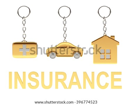 Set of golden keychains in the form of the house, car and medical suitcase and word INSURANCE isolated on white background. 3d Rendering. - stock photo