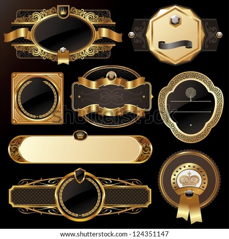 Set of golden luxury ornate frames - stock photo