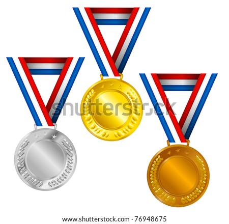 Set of Golden, Silver and Bronze Medals with Ribbons - stock photo