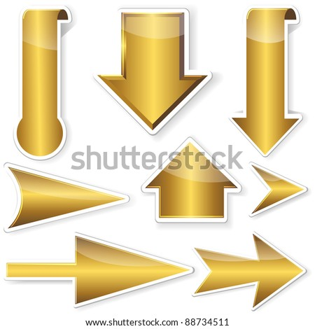 Set of golden stickers from arrows. Raster version. - stock photo