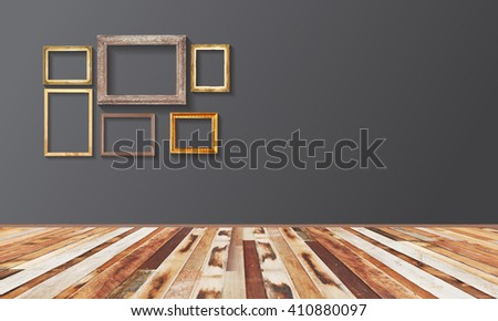 Set of golden vintage wood frame on wall, Plank wood floor. 3D illustration. - stock photo