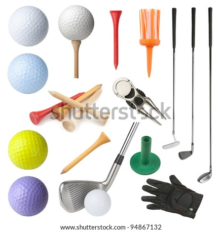 Set of golf equipment isolated on white background. Collection includes clubs, balls, tees, glove and divot repairing tool with ball marker. - stock photo