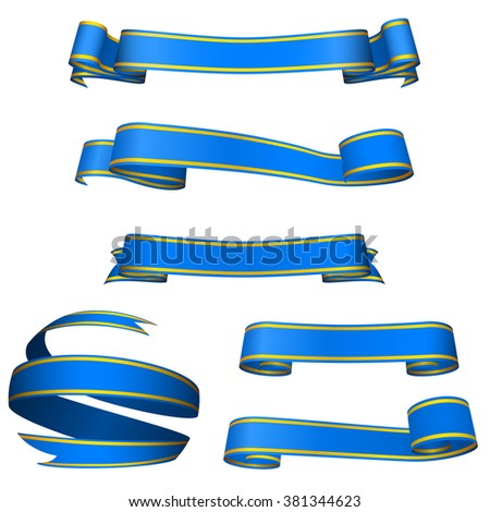 Set of gorgeous blue banners isolated on white background. - stock photo