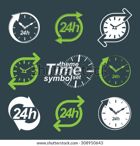 Set of graphic web 24 hours timers, around-the-clock flat pictograms. Day-and-night interface icon. Collection of business time management illustrations. - stock photo