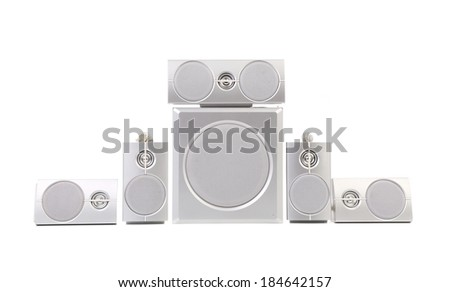 Set of gray sound speakers. Isolated on a white background. - stock photo
