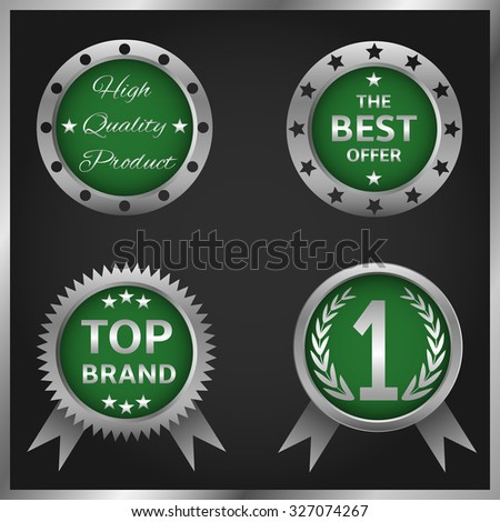 Set of green badges and labels. Raster version - stock photo
