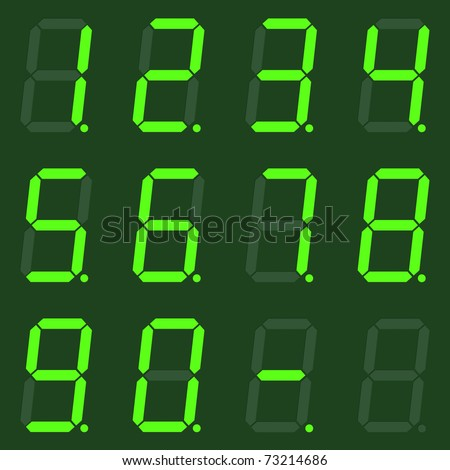 Set of green digital numbers - stock photo