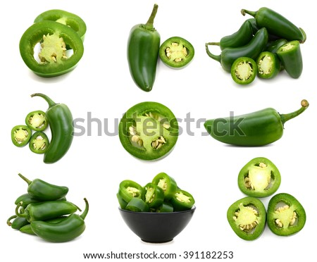 set of green jalapeno peppers - stock photo