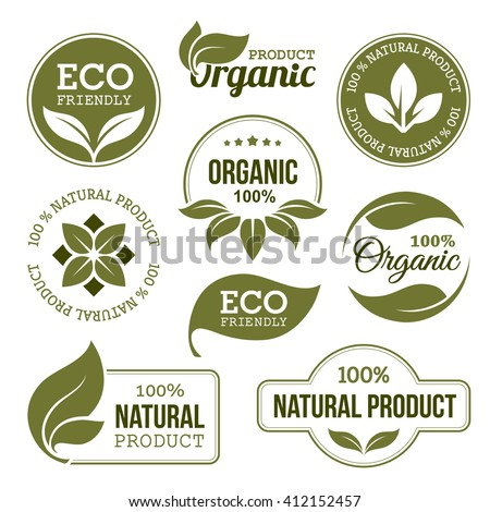 Set of green labels and badges with leaves for organic, natural, bio and eco friendly products isolated on white background - stock photo