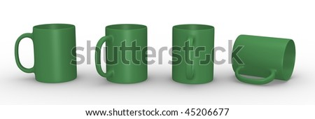Set of green mugs in various viewing perspectives. 3D rendered illustration. - stock photo
