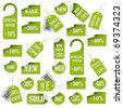 Set of green price tags and labels - stock photo