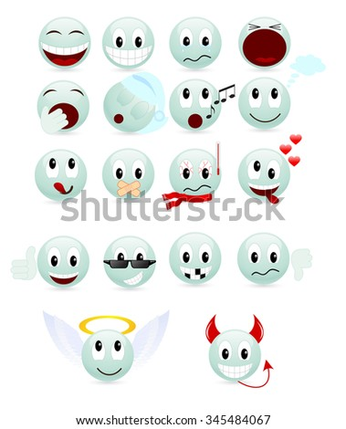 Set of green smiles isolated on a white. - stock photo