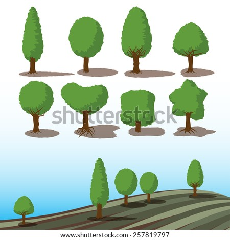 set of green trees with shadows for landscape concept - stock photo
