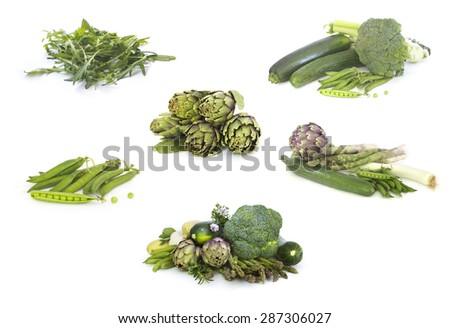Set of Green veggies isolated  on white - stock photo