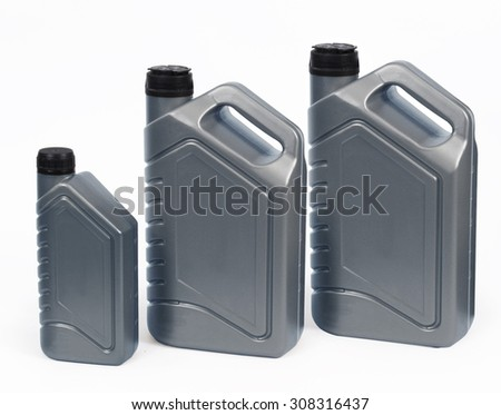 Set of Grey canister, plastic packaging for chemical mixtures of oil, water and other liquids. A photo with a clipping path. Easy cutting and use for your design. Isolated on white background. - stock photo