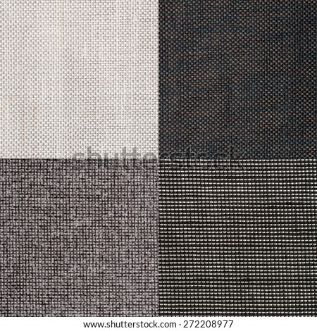 Set of grey fabric samples, texture background. - stock photo