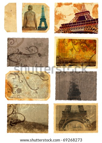 set of grunge cards and templates from Paris with eiffel Tower sights, scrolls and swirls - stock photo