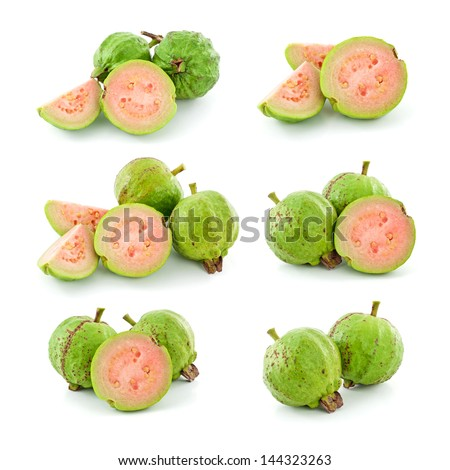Set of guava isolated on white background - stock photo