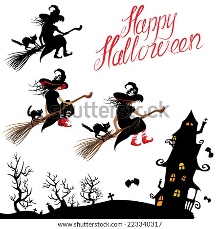 Set of Halloween elements - witch silhouette and black cat flying on broom, mystery house. Handwritten text HAPPY HALLOWEEN. Raster version - stock photo
