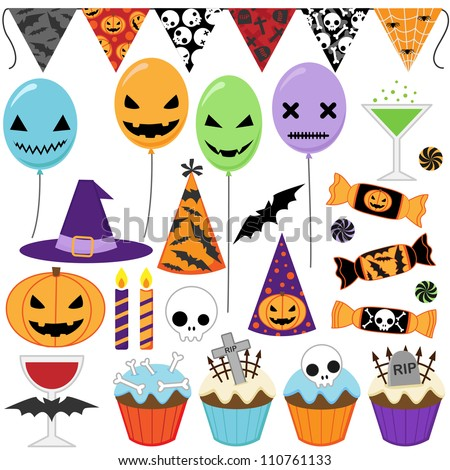 Set of Halloween party elements. Raster version. - stock photo