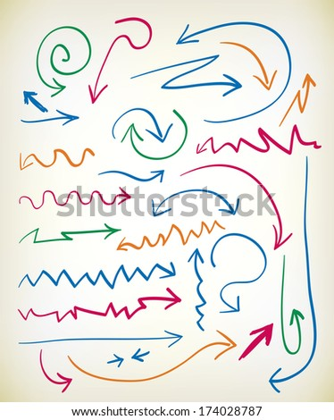 Set of hand drawn arrows in various colored inks with zig zag, curlicue, wavy, and curved lines leading to the arrowhead - raster version of vector illustration - stock photo