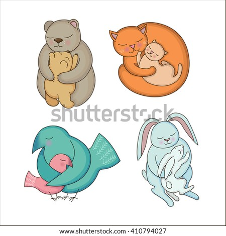 Set of hand drawn Baby and Mommy Animals isolated on white. Mother's hugs. Cute bears, cats, rabbits and birds - moms and kids. Raster illustration.  - stock photo
