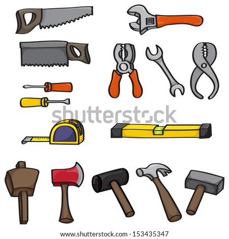 Set of 15 hand drawn cartoon building tools. Set includes hammer, mallet, rubber mallet, wooden mallet, tape measure, spirit level, two screwdrivers, wrenches, pliers, saws and an axe. Raster Version. - stock photo