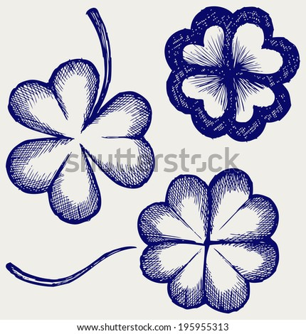 Set of hand drawn clovers. St. Patrick's day. Doodle style. Raster version - stock photo