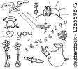 set of hand drawn different doodles - stock photo