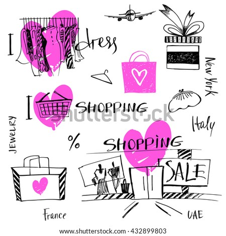Set of hand-drawn for sale shopping and travel. Illustration i love shopping, discount, present, tour.  - stock photo