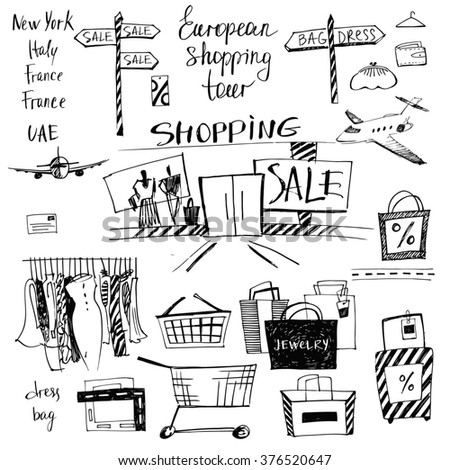 Set of hand-drawn for shopping and travel. Discounts, shopping tours to Europe.  - stock photo